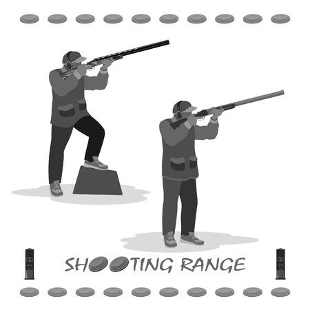 uomo spara a un piccione che vola con un fucile. in piedi scarpe da ginnastica, un berretto in testa. fucile, piastre di argilla