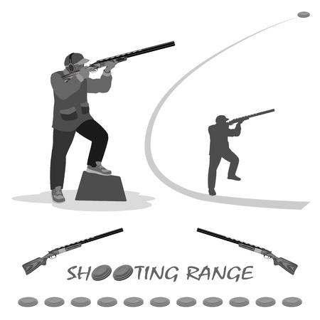 man schiet op een vliegende duif met een geweer. op zijn voeten loopschoenen, een pet op zijn hoofd. geweer, klei platen