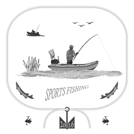 gull: A fisherman in a boat fishing, silhouette. A rubber boat, near spinning and landing net. fish called Pike. Gull and bulrush totally illustration