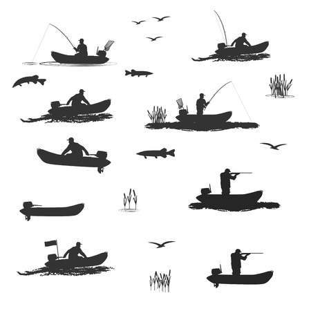 screw head: head of the club fishermen rides on a rubber boat with a motor. fisherman in a boat catches a fish, hunter shooting rifle set of silhouettes. totally illustration