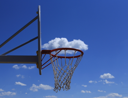 durable: Basketball basket on blue sky background. cloud in the basket. durable mesh.