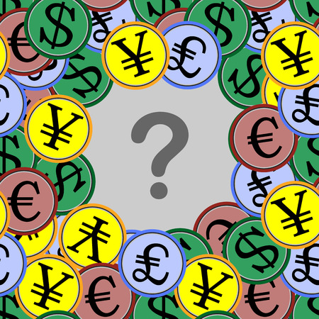 begging: a set of global currency dollar, euro, pound, yen. seamless texture. for successful business and make money illustration for design and printing Illustration