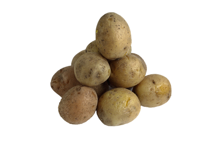 square root: potatoes folded onto each other. cooked in the skins. isolate on white background without shadows. easy to cut your project. Stock Photo