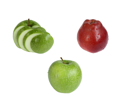 set of different apples. red, green and cutting. isolate on white background without shadows. easy to cut your project.