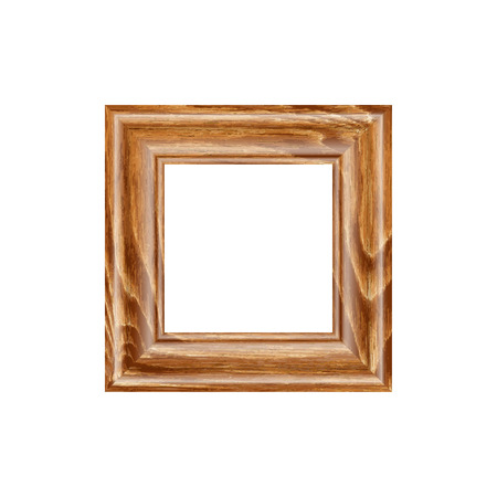 machined: Square frame made of expensive wood. machined baguette. isolate on a light backdrop, it is easy to cut to your design. Illustration