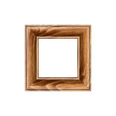 any size: Square frame made of expensive wood. machined baguette. isolate on a blank backdrop, easy to cut to your design. full vector, scale any size Illustration