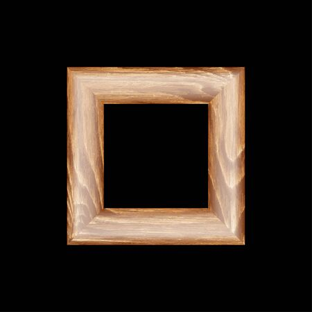 full size: Square frame made of expensive wood. machined baguette. isolate on a blank backdrop, easy to cut to your design. full vector, scale any size Illustration