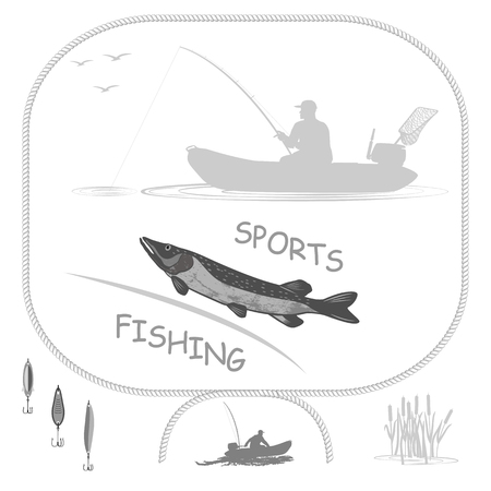 gills: fish pike fisherman in a rubber boat. Spinning holds in his hands. Isolate on white background.