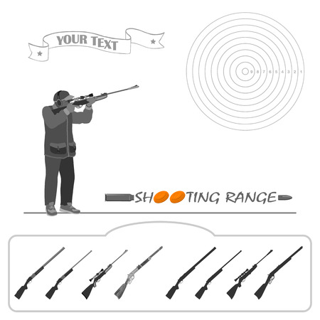 marksmanship: The man is standing with a rifle and shoot at the target. rifle, bullets, plates and target for marksmanship