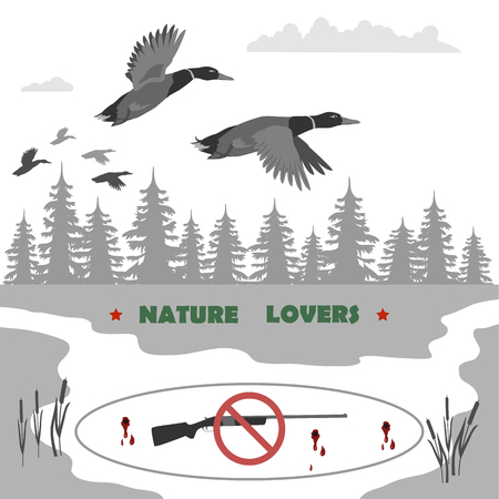 gun holes: flying ducks and clouds. away forest and reeds. Rifle banned. totally vector illustration.