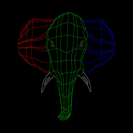 the head of a large and strong elephant. grid of the three colors. Isolate on black background. Illustration