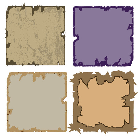 torn edges: a set of four frames. square shape. grungy torn edges. Isolate on white background, easy to cut to your design. Illustration