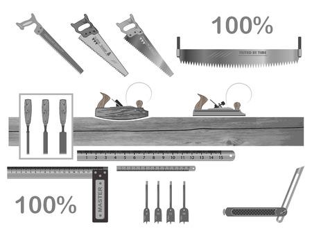 conjunto de herramientas para trabajar con madera. Tiene un plano, una sierra para metales, un cincel, una regla, un cuadrado, brocas.