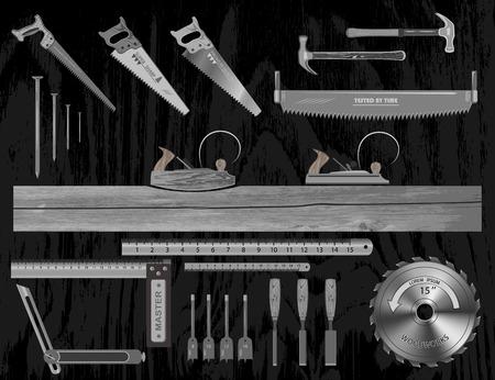 Juego de herramientas para trabajar con madera. tiene un plano, sierra, cincel, regla, cuadrado, brocas, clavo.