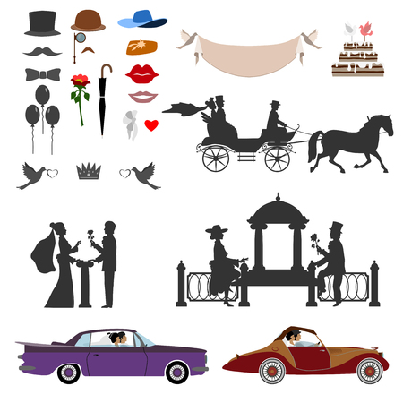 Silhouette of the bride and groom. Sit in the carriage. Near the arbor. Stand with a flower. Mustaches, balls, lips.