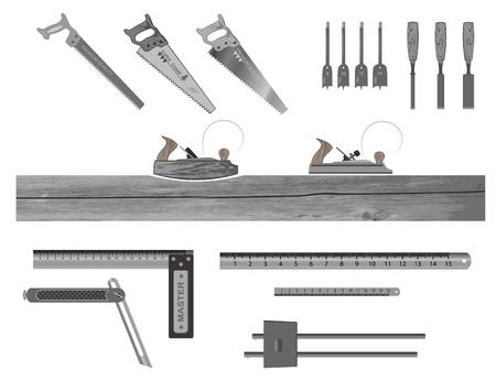 conjunto de herramientas para trabajar con madera. tiene un avión, una sierra de arco, un cincel, una regla, un cuadrado, brocas, una uña.