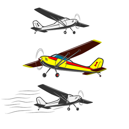 Three kinds of vintage, small aircraft. One in color.Sports, excitement and travel around the world in flight.
