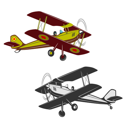 Two kinds of vintage, small aircraft. One in color. Illustration