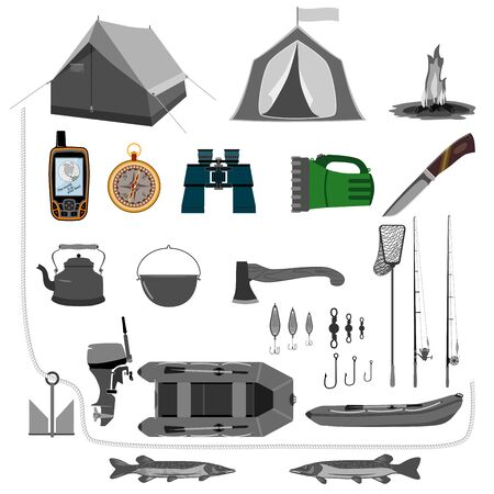 A set of accessories for travel through the forest and rivers. For active and nature-loving people. Isolate on white background.