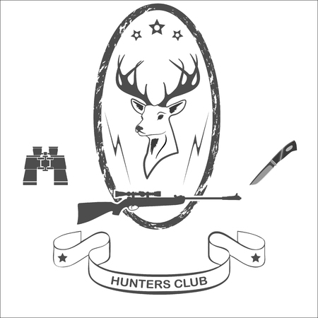 Head of a red deer, rifle with a sight, binoculars and a hunters knife Illustration