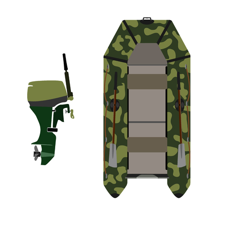 outboard: Rubber boat. Color camouflage. Outboard motor. Isolate on white background.