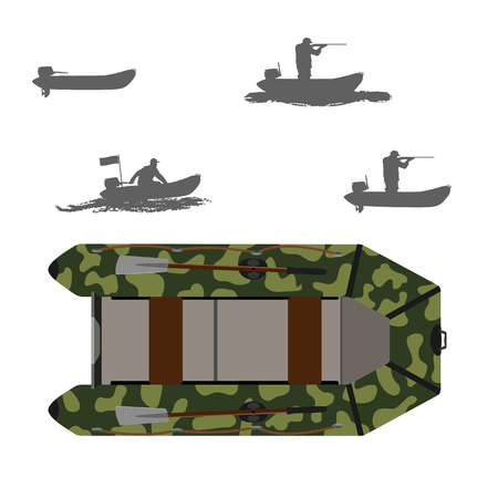 Rubber boat. Color camouflage. Silhouette of a fisherman and a hunter in a boat. Isolate on white background.