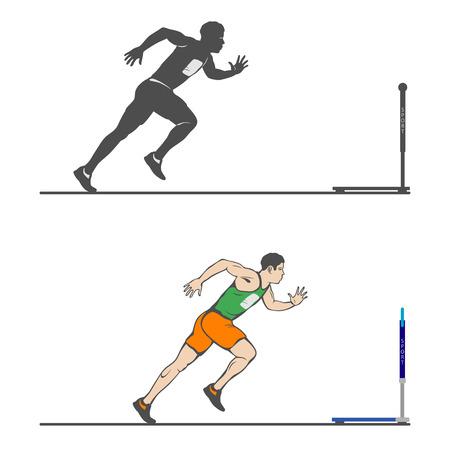 Male athlete accelerates Ilustração
