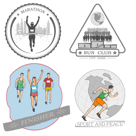 shortcuts: A set of emblems, shortcuts and icons for the design of the sport. there is a marathon, a sprint, a mass race. White background.