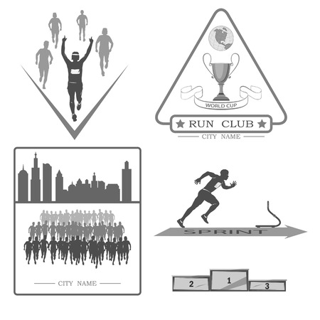 shortcuts: A set of emblems, shortcuts and icons for the design of the sport. there is a marathon, a sprint, a mass race on white background. Illustration