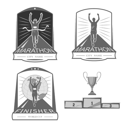 shortcuts: a set of emblems, shortcuts and icons for the design of the sport. there is a marathon, a sprint, a mass race. White background. Illustration