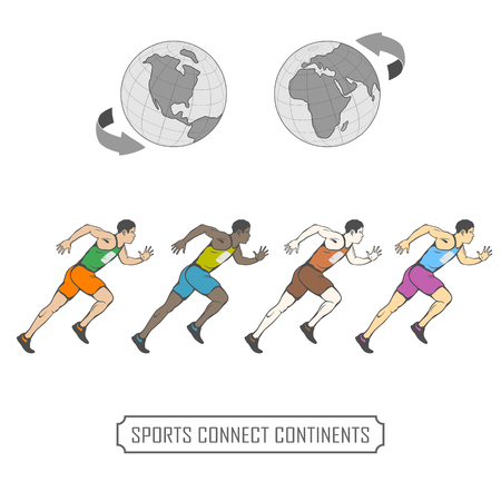 run athletes of different nationalities. against the background of the globe. can be seen continents Ilustração