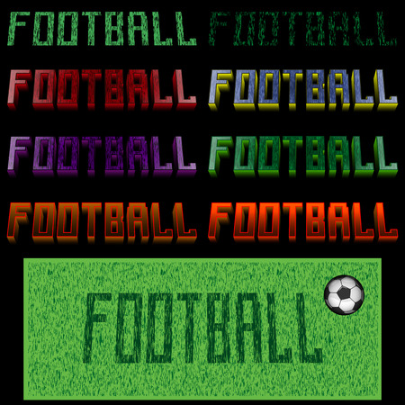 A banner with the name of a football of different colors on a black background.