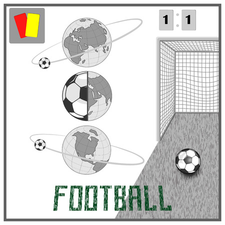 A soccer ball for the world championship on a globe