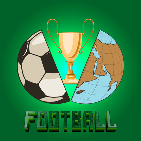 two halves. one is a globe, another is a soccer ball. in the middle there is a sports cup. bright background. Ilustração