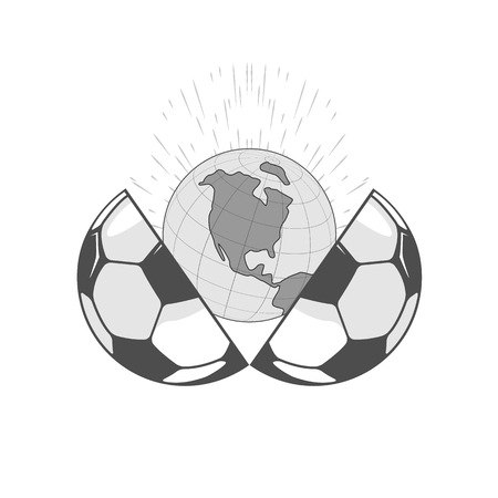 two halves of the ball. between them a globe and a spray. isolate on white background.