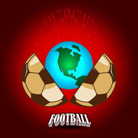 The soccer ball for the World Cup is divided into two halves. In the middle there is a globe and a spray.