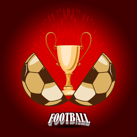 The soccer ball for the World Cup is divided into two halves. In the middle there is a gold cup. in the bottom of the banner