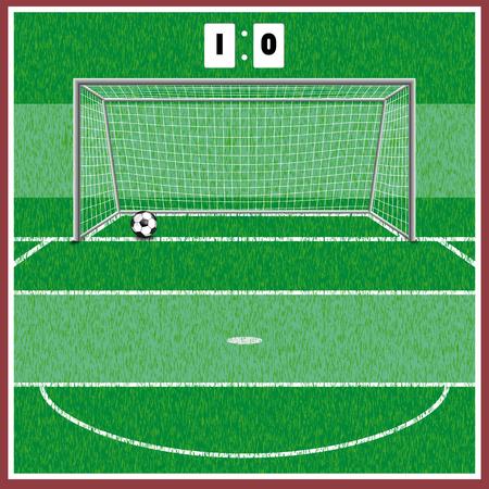 Terrain de football. sur l'herbe les marques et la porte se tiennent. à côté de la balle se trouve. Banque d'images - 89041866