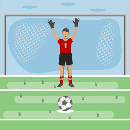 Football field. there is a gate. the goalkeeper prepared for the strike. lies the ball. drawing in the style of flat.