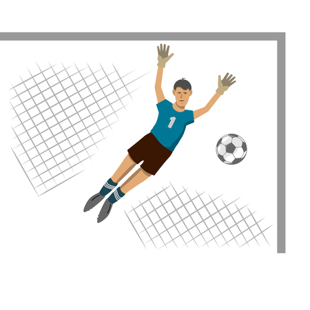 football field. there is a gate. the goalkeeper jumped to the side. flies the ball. drawing in the style of flat.
