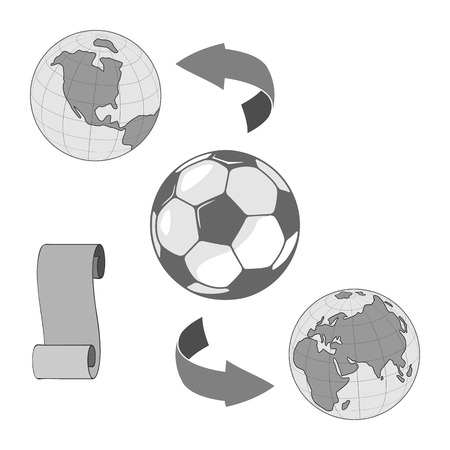 A soccer ball for the world championship on a globe. there are arrows. Isolation on a white background Ilustração