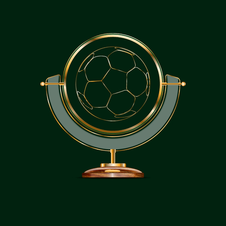 stand for a globe of expensive wood and gold. in the middle of the ball. he symbolizes the planet earth