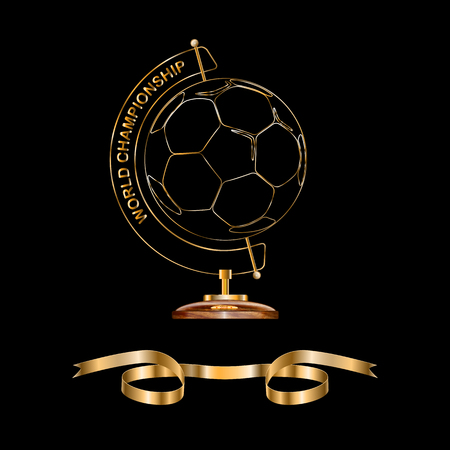 Stand for a globe of expensive wood and gold. in the middle of the ball. he symbolizes the planet earth Ilustração