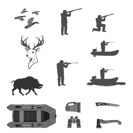 a man shoots a rifle on a hunt. set in different poses. rifles separately. There is a knife, binoculars, a flashlight, a rubber boat. isolate on white background. easy to cut for your projects  イラスト・ベクター素材