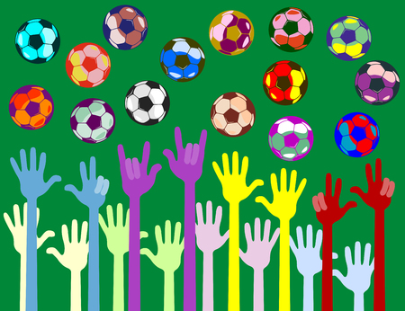 hands of bright color. The fingers show the figures. next to fly colored balls. isolate in one color. Stock Illustratie