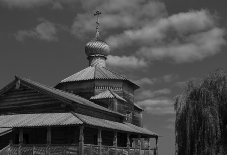 Old historical temple. completely wooden, monochrome image, open to tourists. Stok Fotoğraf