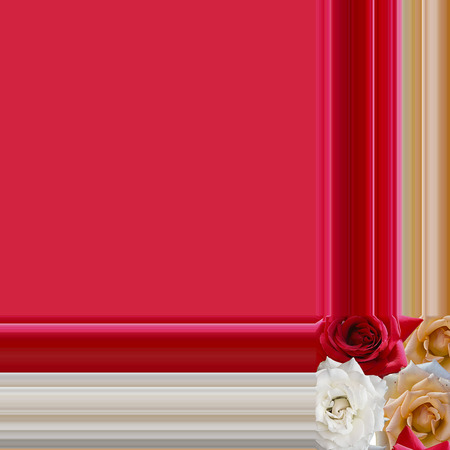A beautiful frame with roses at the four corners Stok Fotoğraf