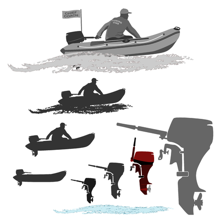fishermen head coach of the club set of silhouettes. totally vector illustration