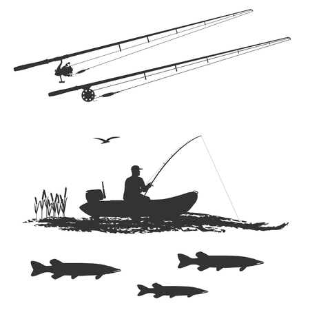fish pike and fisherman in a rubber boat, stylized wave. Spinning holds in his hands. Two separate spinning.