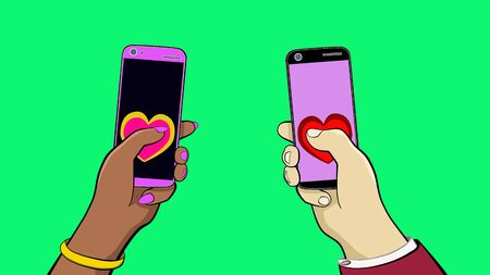 Hand of man and woman. Hold two smartphones and call each other. Two heart symbols appear and fly out to the center from the screen. You can replace the background.